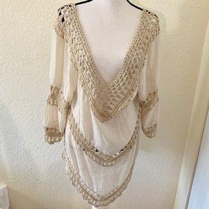 NWOT Elan Crochet Swimsuit CoverUp Sz Large